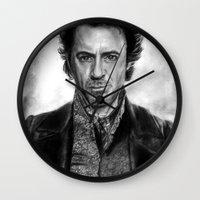 sherlock holmes Wall Clocks featuring Sherlock Holmes by ChrisPastel
