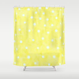 Vintage Happy Yellow Polka dots Shower Curtain