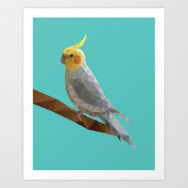 Yellow Cockatiel Bird Polygon Art Art Print