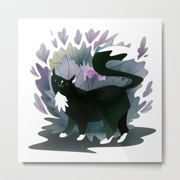 Black cat with white paws and neck Metal Print