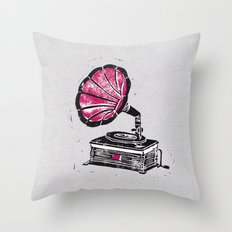 Linocut Gramophone Throw Pillow