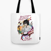 death note Tote Bags featuring Fandom Pride: Asexuality Special, L Death Note by Cinensis