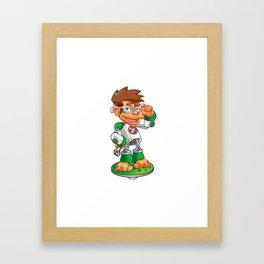 Cartoon Monkey Nerd robot Framed Art Print