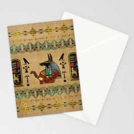 Egyptian Anubis Ornament on papyrus Stationery Cards