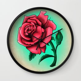 Pink Rose Tattoo Flash Wall Clock