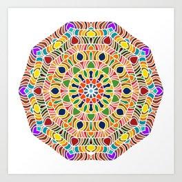 Elements forming a symmetrical mandala Art Print