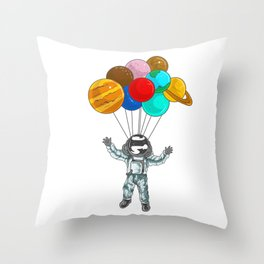 Astronaut In Space Flying With Planet Balloons Throw Pillow