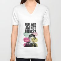 macaroon V-neck T-shirts featuring God,why am not french? by KukichaDesign