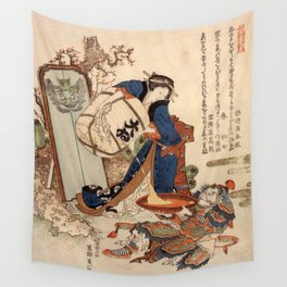 The Strong Oi Pouring Sake by Katsushika Hokusai Wall Tapestry