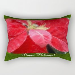 Mottled Red Poinsettia 2 Happy Holidays P1F1 Rectangular Pillow
