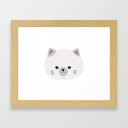 Cute white kitty with gray ears Framed Art Print