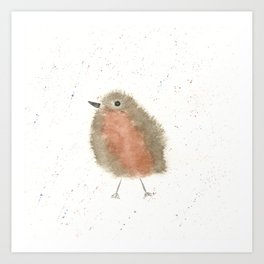 Whimsical Robin Red Breast Watercolor Art Print