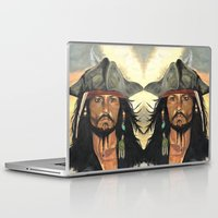jack sparrow Laptop & iPad Skins featuring Captain Jack Sparrow by marysiak