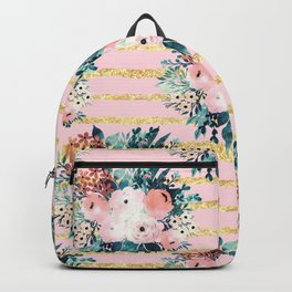 Pink Flowers Paint Gold Stripes Girly Design Backpack
