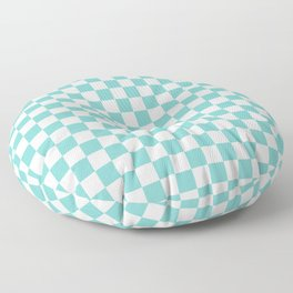 Aqua Checkerboard Pattern Floor Pillow
