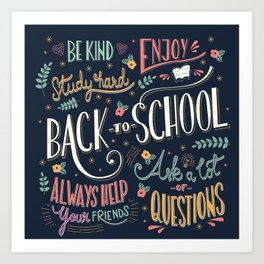 Back to school colorful typography drawing on blackboard with motivational messages, hand lettering Art Print