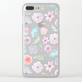 Pastel pink lilac watercolor hand painted modern floral Clear iPhone Case