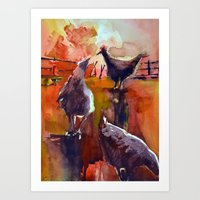Chickens Before Sundown Art Print