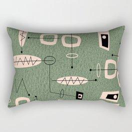 Mid-Century Atomic Green Abstract Rectangular Pillow