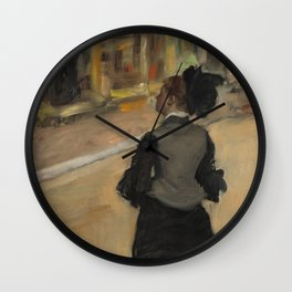 Woman Viewed from Behind (Visit to a Museum) Wall Clock