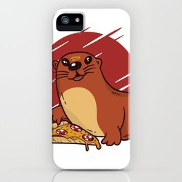 baby otter pizza  iPhone Case