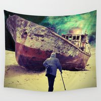 ship Wall Tapestries featuring Ship by Cs025