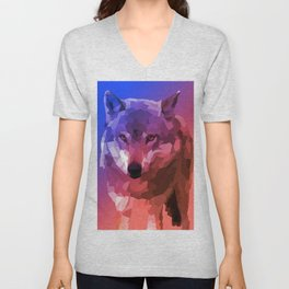 Low Poly Rainbow Wolf Unisex V-Neck