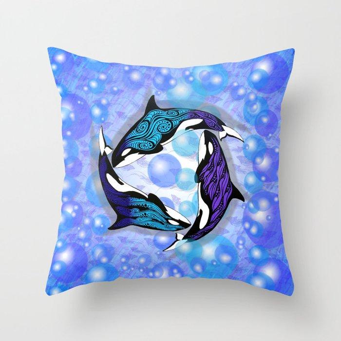ORCAS BUBBLES Throw Pillow