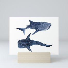 TWO WHALE SHARK Mini Art Print