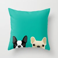 french Throw Pillows featuring Boston Terrier & French Bulldog 2 by Anne Was Here