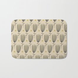 Bergamo Flowers and Suns - Midcentury Modern Floral Dot Pattern in Retro Gray, Mustard Yellow, and Beige Bath Mat