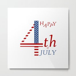 4th of july Independence day greeting- US flag colors and stylized lettering Metal Print
