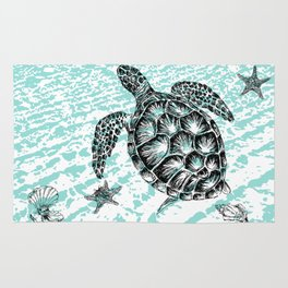 Sea turtle print in black and white Rug