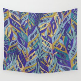 Tropical Leaves, blue and mustard pattern Wall Tapestry