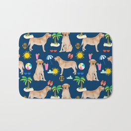 Yellow Lab labrador retriever dog breed beach summer vacation dog gifts Bath Mat