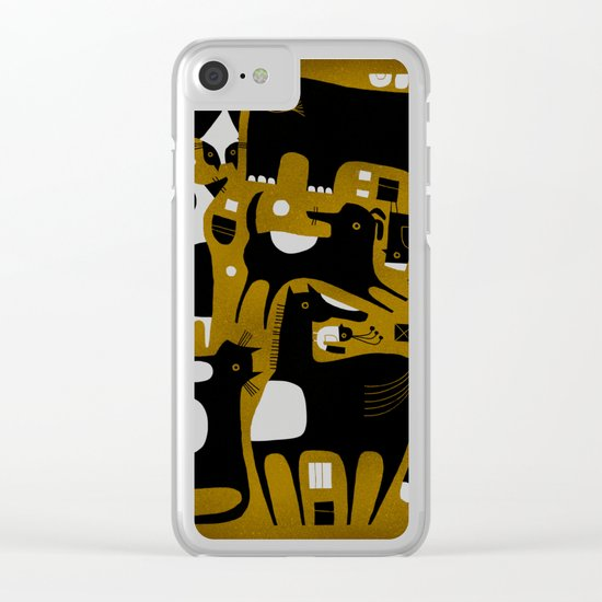 ANIMAL PATTERN BROWN Clear iPhone Case
