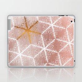 Elegant Geometric Gold Snowflakes Holiday Pattern Laptop & iPad Skin