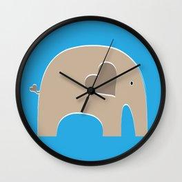 Blue Safari Elephant Wall Clock