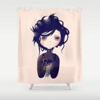 edward scissorhands Shower Curtains featuring Edward by Nan Lawson