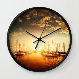 Golden Marina Sunset Wall Clock