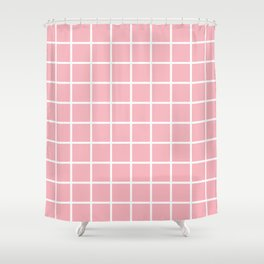 Coral Grid Pattern 2 Shower Curtain