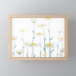white daisy watercolor horizontal Framed Mini Art Print