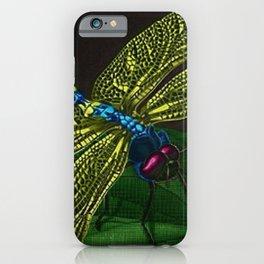 Dragonfly on a leaf by Jeanpaul Ferro based on b&w print by E.C. Escher iPhone Case