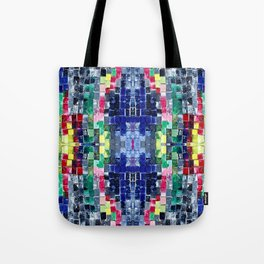 Blue Squares in a Kaleidoscopic Box Tote Bag