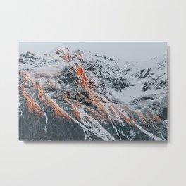 Sunset Mountains | Mountaians on Fire Metal Print