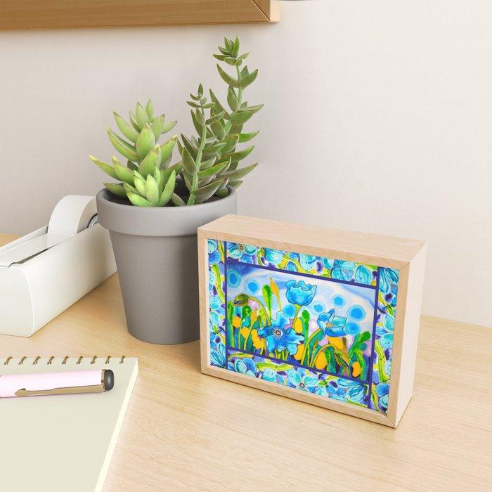 Blue Poppies 1 with Border Framed Mini Art Print