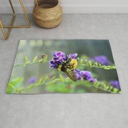 Bee in Purple Duranta Art Photography, Summer's End Rug