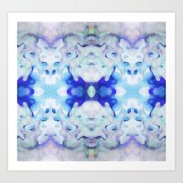 Down The Rabit Hole - Surreal Blue Watercolor Art Print