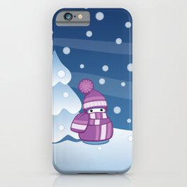 Crafty Snowman Knitting Scarf iPhone Case