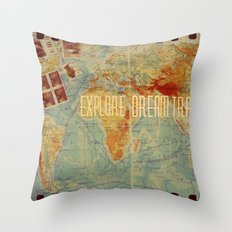 Explore Dream Travel Throw Pillow